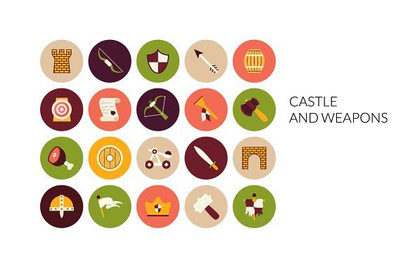 Flat icons set - Castle & Weapons by sidmaydesign on @creativemarket