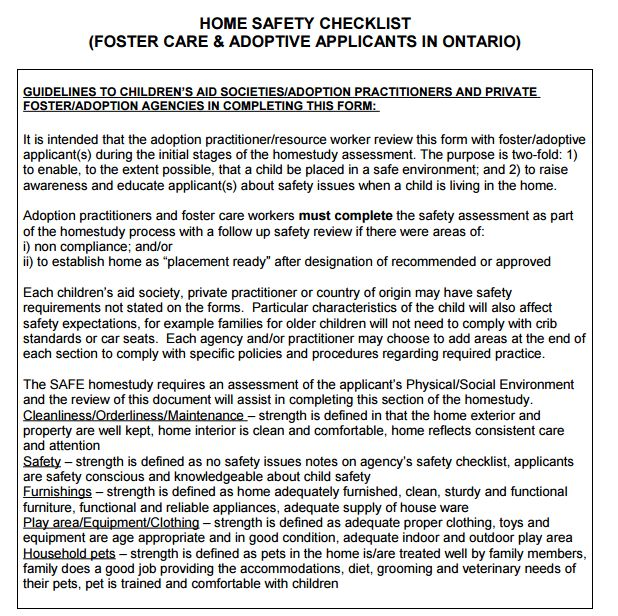 Home Study Safety Check list - full checklist at mommameesh.wordpress.com (Ontario Foster Care and Adoption through Foster Care Home Assessment)