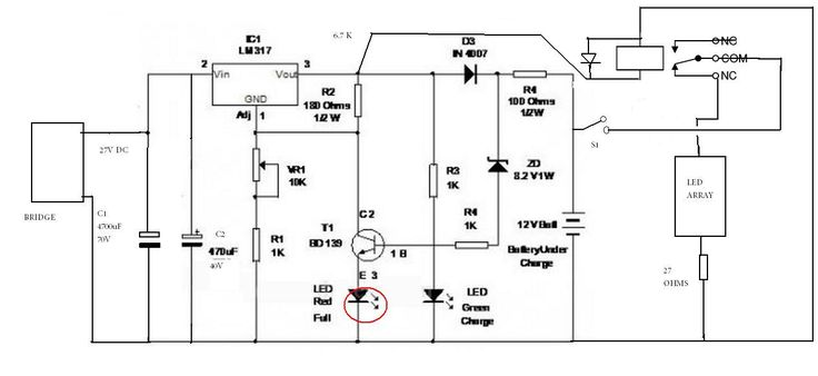 20amps 12 volt float battrey charger circuit diagram