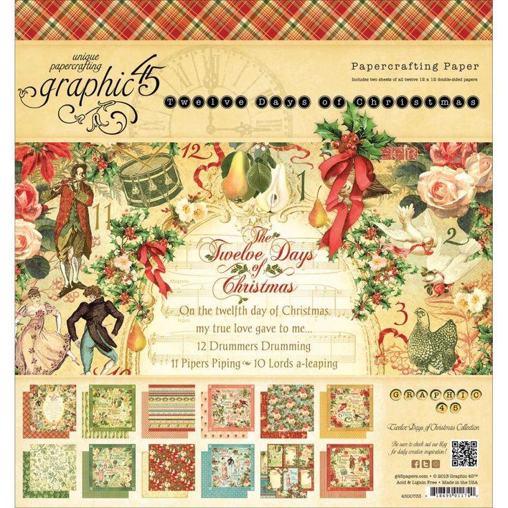 """Набор бумаги 20 х 20 см Graphic 45 """"12 Days Of Christmas"""" - Интернет-магазин «МЕМУАРИС»"""