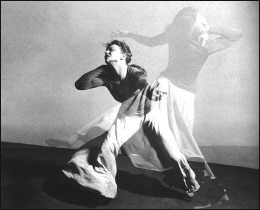 Modern dancer Valerie Bettis performing Desperate Heart, 1944. Photo by Barbara Morgan.