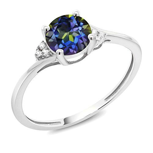 6645ac3b729cd 1.04 Ct Round Blue Mystic Topaz White Diamond 10K White Gold Ring ...