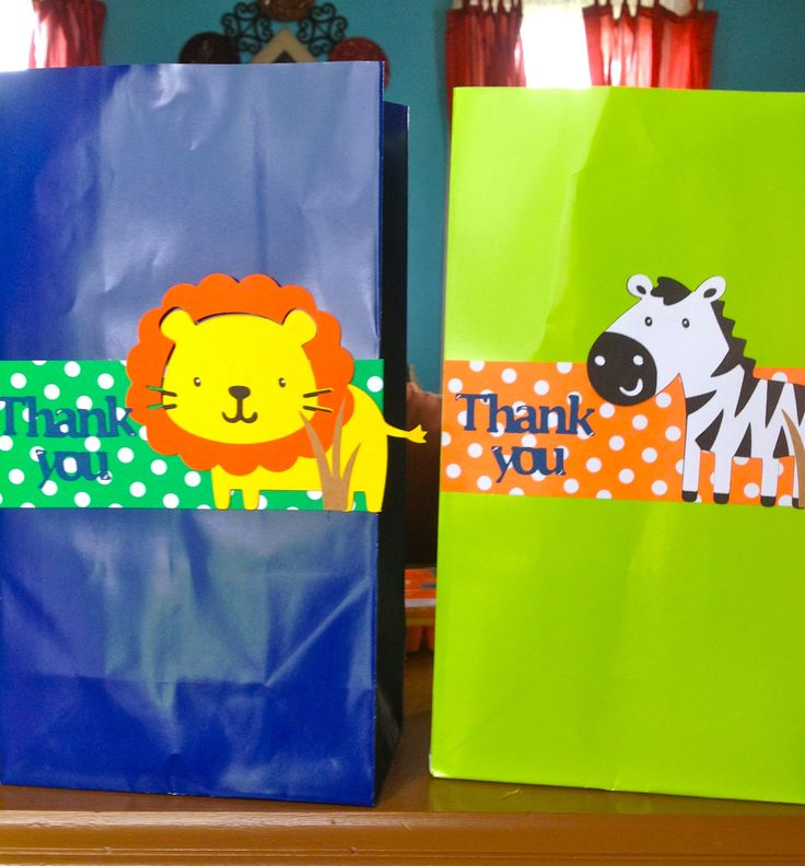 Jungle Safari Animal (elephant, Monkey, Lion and Zebra) Party Favor Goodie Bag set of 10