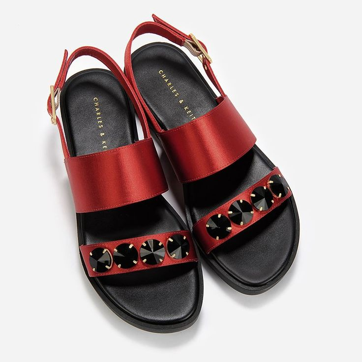Embellished Satin Sandals - Red - Flats - Shoes | CHARLES & KEITH