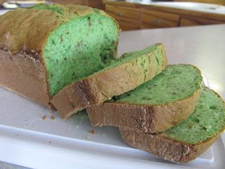 Pistachio St.Patrick's Day Bread...this sweet bread is so scrumptious & the kids love that its green!  Made from yellow cake mix & pistachio pudding!!