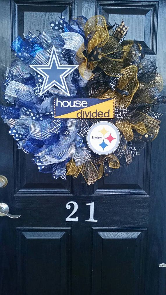 Large House Divided Sign Mesh Burlap Ribbon Wreath Dallas