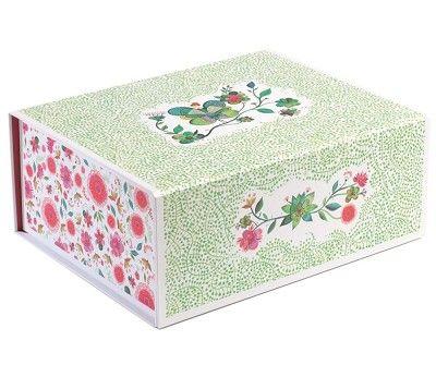Oppbevaringsboks, lys grønn med blomster