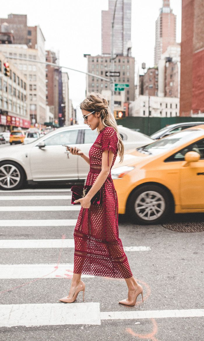 Chic on the street. Nude pumps paired with a burgundy dress. #fashion #shoes