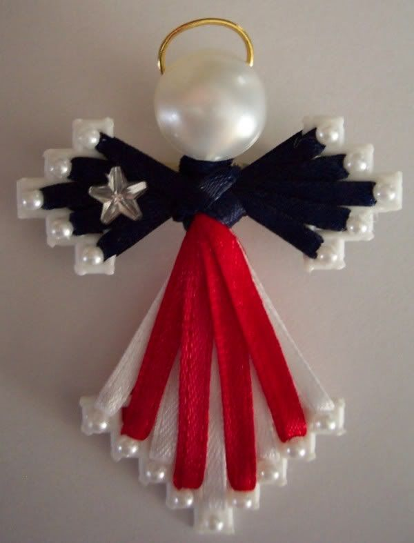 Plastic Canvas Crafts | Plastic Canvas Ribbon Angel Pin by JudyWV