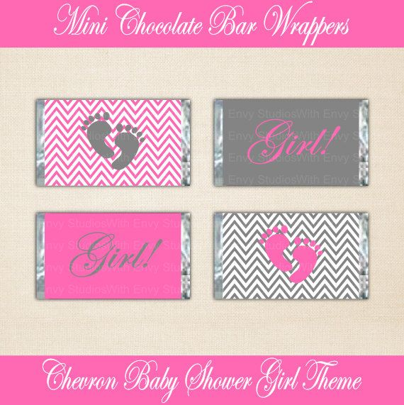 Baby Shower Candy Bar Wraps  Chevron Printable by WithEnvyParties