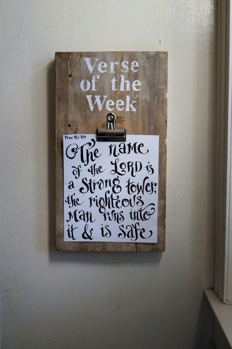 Verse of the Week Clip Board Vintage Reclaimed Wood by kijsa