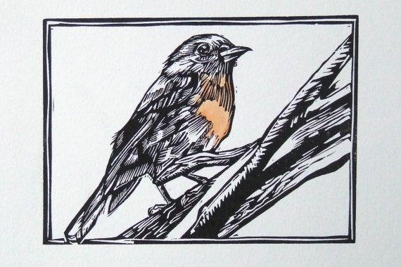 Australian flame Robin original  linocut print by rubyvictoria, $60.00