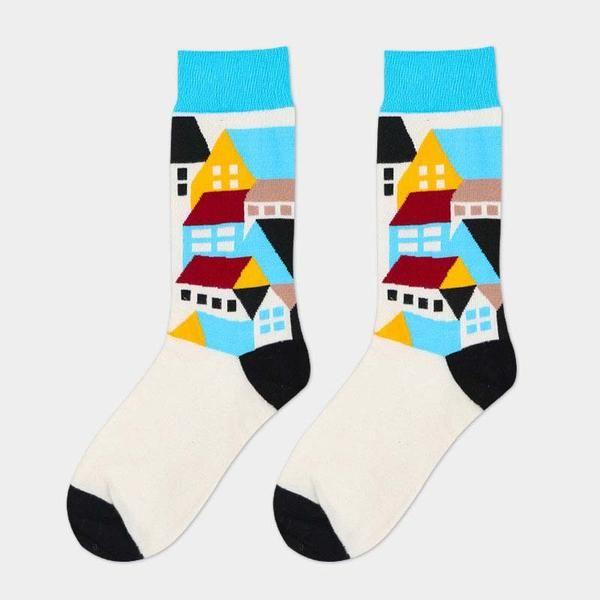 Dream Village Novelty Socks #sockpainter