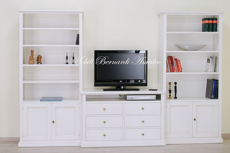 Wall unit with Tv stand and bookcases, white finishing, solid wood.