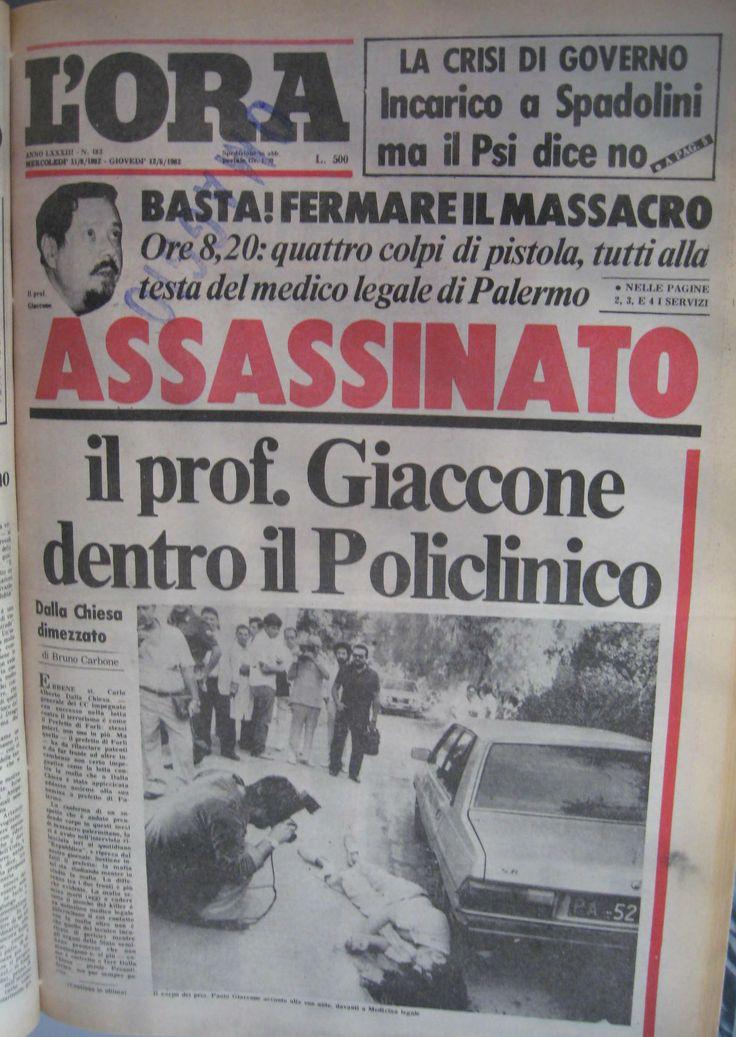 11 agosto 1982, L'Ora, prima pagina