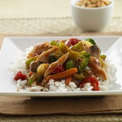 Thai-Style Chicken Stir-Fry, no rice, low sodium soy sauce and serve on lettuce leaves. Could work for leftover roasted chicken.