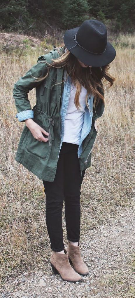 #fall #outfits / military + denim layers