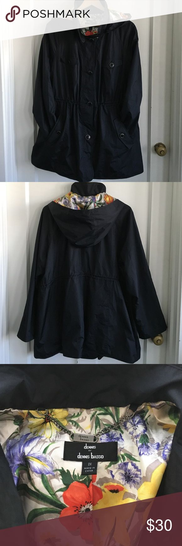 Dennis Basso water resistant Jacket w/ Hood Gently used , no rips, no stains. Black w inner floral print lining. Zip-off hood, button closures, elastic pull-cord at the waist this jacket is great to be out and about. Dennis Basso Jackets & Coats