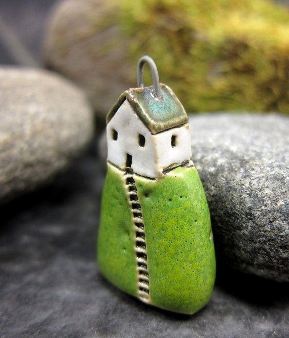 Hilltop Cottage...Mossy Hill...Porcelain Pendant