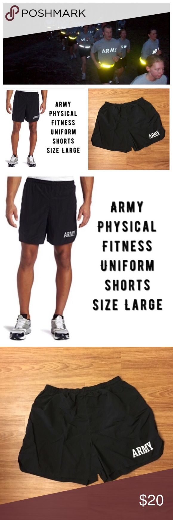 "Army Physical Fitness shorts: all are size Large Same day shipping (as long as P.O. is open for business). ❤ Measurements are approximate. Descriptions are accurate to the best of my knowledge.  Price FIRM (unless bundled). Price is for ONE pair. All size large. No inner tags. They are a synthetic blend. Front: ARMY reflective. No holes/stains. Smoke/pet free home. Flat measurements: 15"" across waist, 5"" inseam. Inner drawstring, small inner waist pocket, ID card pocket outside of right leg…"