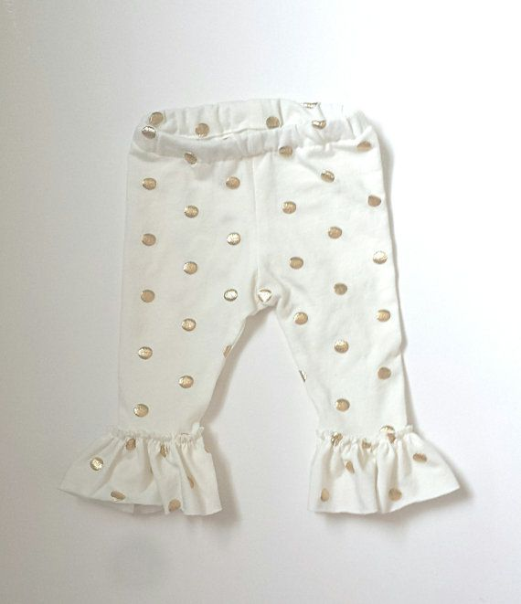 Gold Foil Polka Dot on Cream Baby Girl Ruffle by CozyComfyLittles