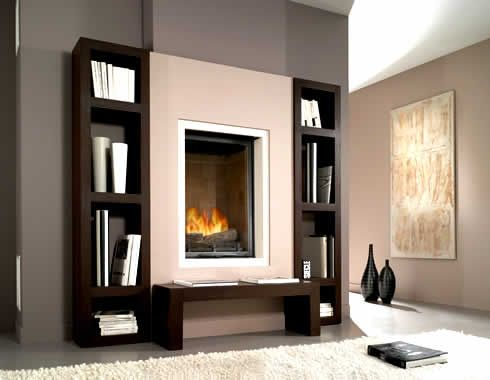 Perhaps bookshelves or a ledge under the fireplace would make a good feature wall