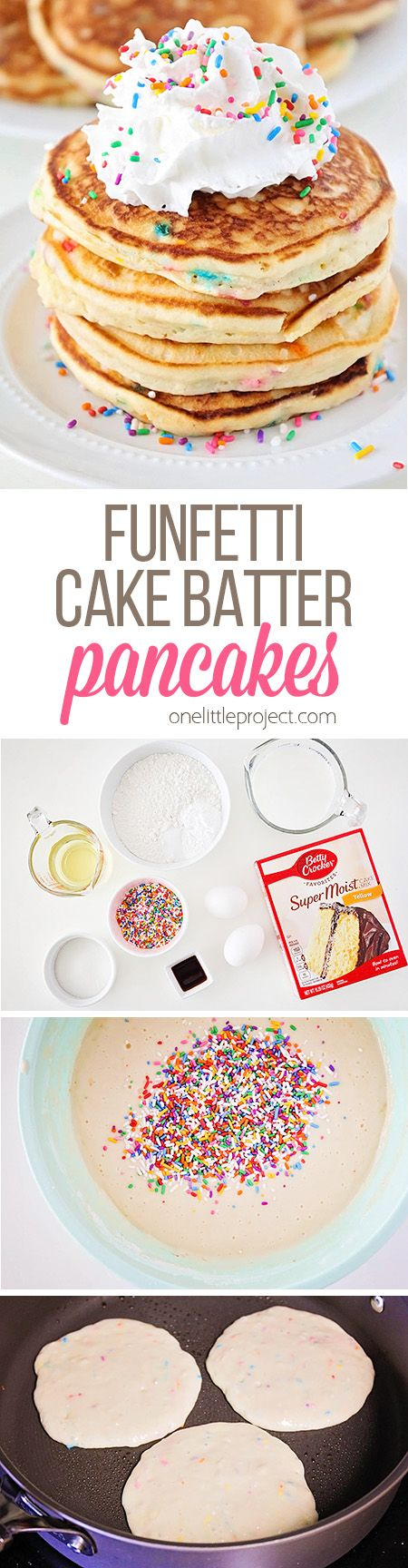 These funfetti cake batter pancakes are so fluffy and sweet, and loaded with sprinkles! They're the perfect breakfast for any special occasion! (Pancake Recipe)
