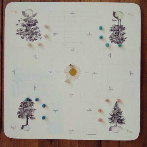 """"""" Árbol de manzana """" tablero de juego de parqués para 4 jugadores. Pieza única #Himallineishon #tree #game #parchis #homedecor #illustration #apple"""