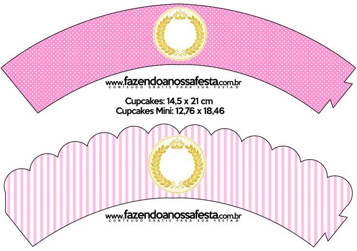 Saias Wrappers para Cupcakes Coroa de Princesa: