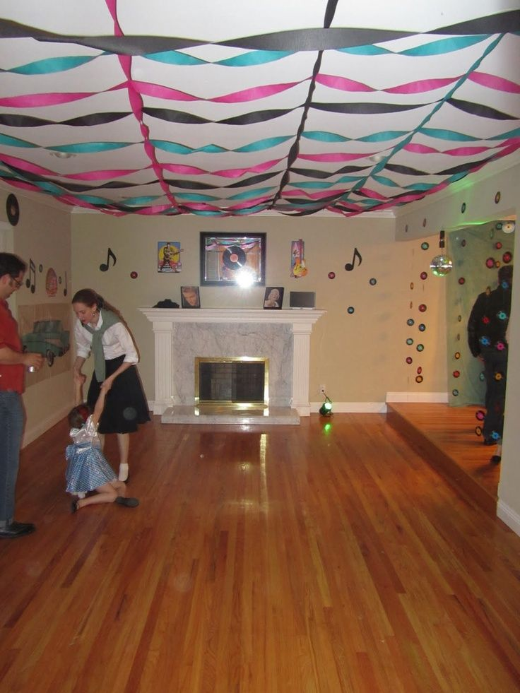 sock+hop+decorations | Sock Hop. Notice ribbon on ceiling and small records on the string.