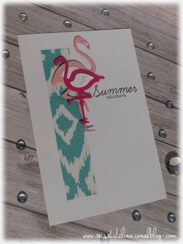 card flamingo summer carte flamand rose ete #scrap