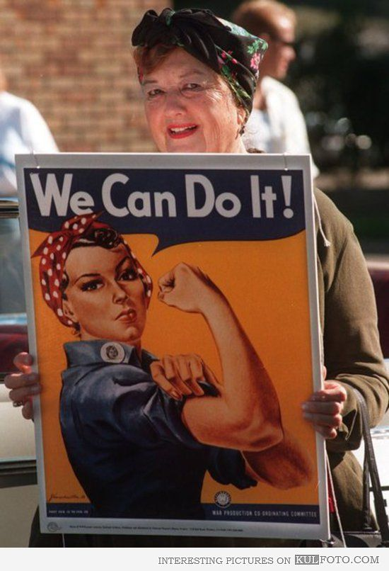 """Then and now: We Can Do It girl Geraldine Hoff Doyle was 17 in 1942 and working at the American Broach & Machine Co. when a photographer took a picture of her on the job. The photo was used by J. Howard Miller for the """"We Can Do It!"""" poster during World War II"""