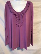Susan Graver Woman 2X Purple Polyester Ruffle Front Blouse Long Sleeve