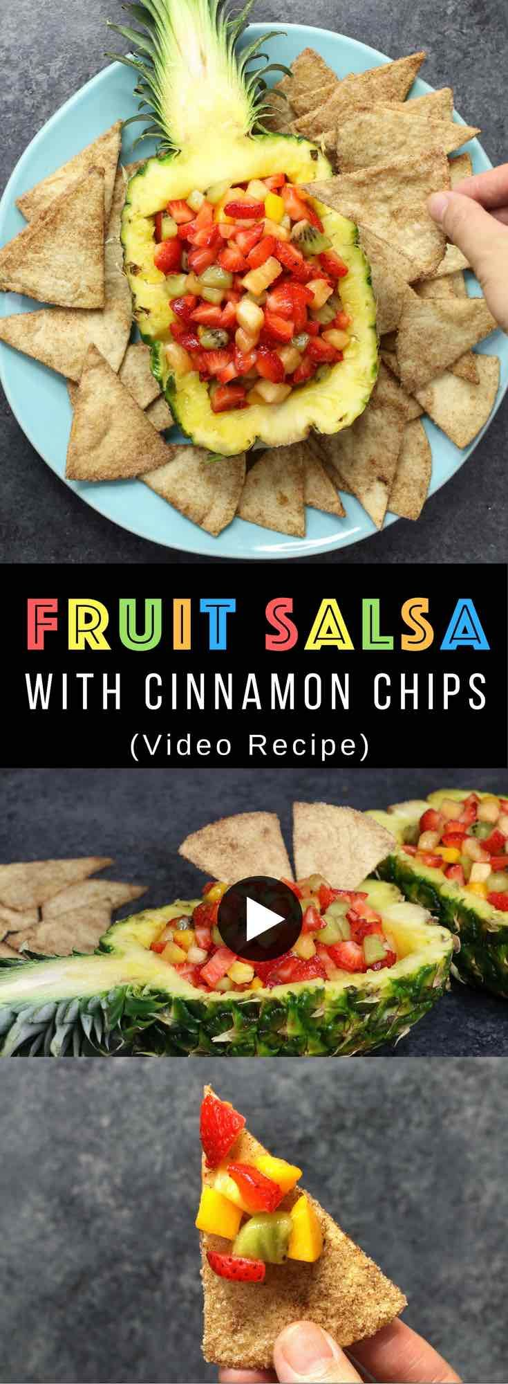 Super Easy Fruit Salsa With Cinnamon Tortilla Chips – delicious fruit salsa with crispy and sweet cinnamon chips. An easy dessert that comes together in no time. All you need is a few simple ingredients: Flour Tortillas, butter, cinnamon, sugar, pineapple, strawberries, kiwi, mango and lemon. It's the perfect way to serve fruits to a crowd! Quick and easy recipe. Great for party dessert and holiday brunch such as Easter, Mother's Day or Father's Day. Video recipe. | Tipbuzz.com