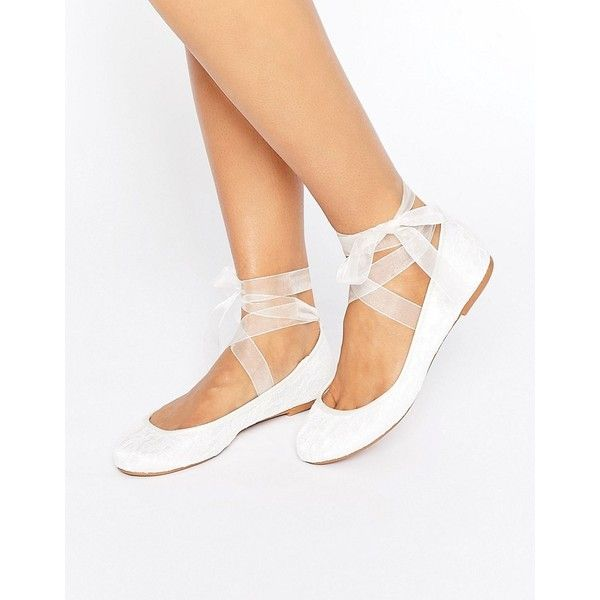 ASOS LYDIA Bridal Ribbon Ballet Flats (1,855 INR) ❤ liked on Polyvore featuring shoes, flats, cream, lace-up ballet flats, ballet flats, bridal shoes, ballet pumps and lace bridal shoes