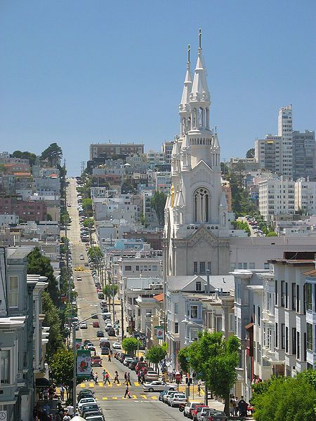 North Beach, San Francisco, California, USA. Follow this street up over the hill and down to Geary Beach on the Pacific Ocean side of town.