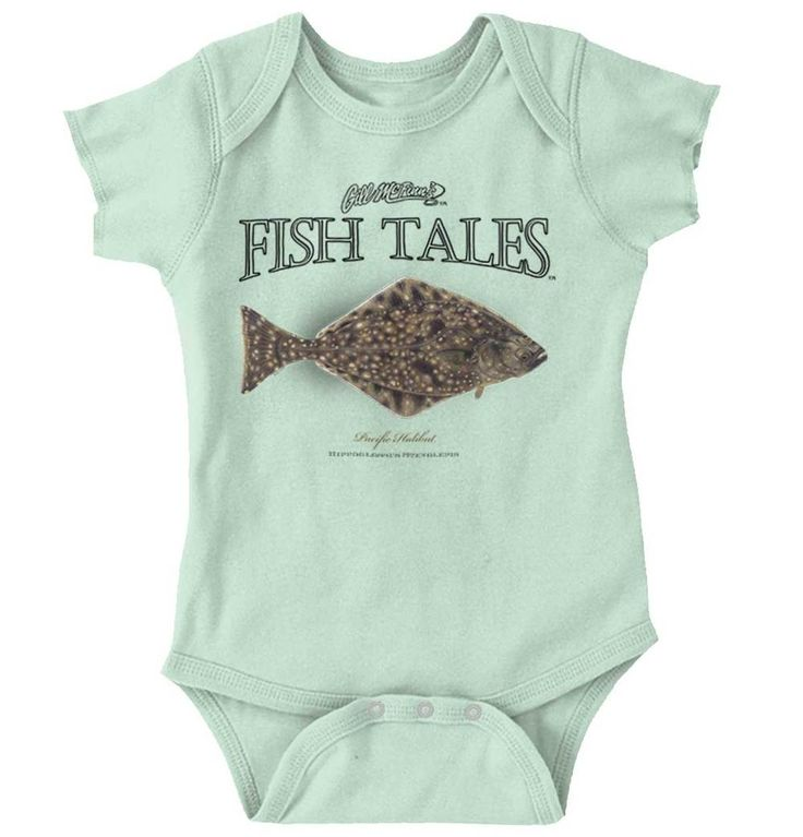 Pacific Halibut Onesie | pacific halibut antique fish print vintage art artwork illustration classic old aged streams rivers oceans sea righteye flounder flatfish north commercial sport fishing fisherman angler baby boys girls clothes onesie one-piece newborn months infant