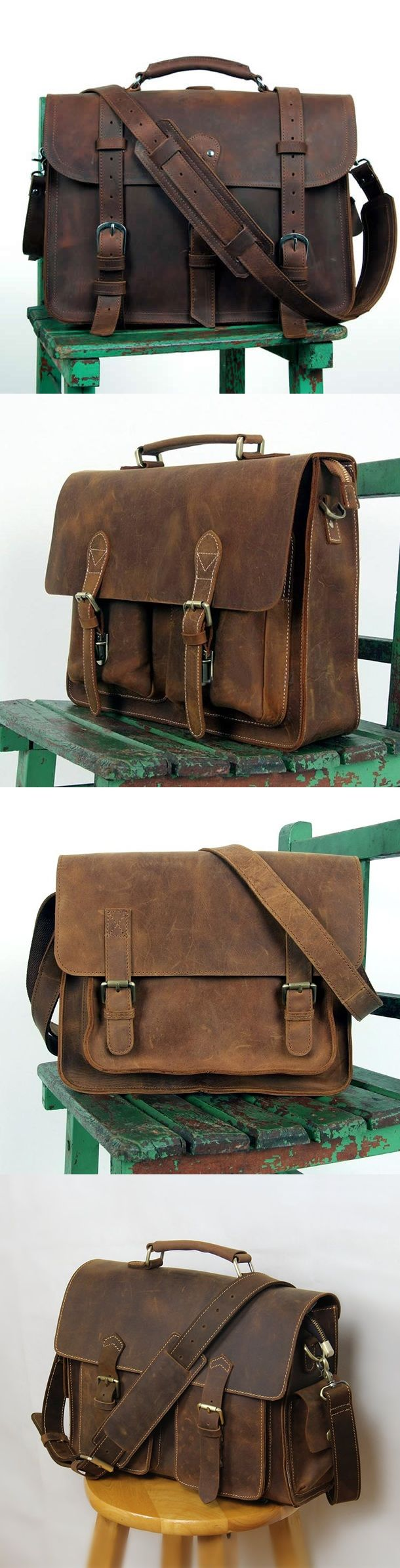This handmade leather bag is made with selected materials. The properties of Antique Crazy Horse leather and vintage design make this item unique.  All hand stitched, works excellent.  A truly one of a kind item!  Material: Antique Crazy Horse leather from Italy; durable cotton fabric lining; bro