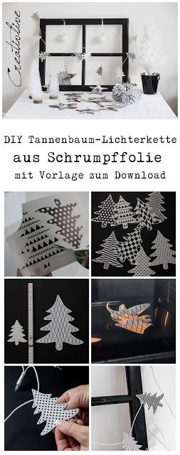 Tannenbaum Lichterkette aus Schrumpffolie mit Vorlage zum Download