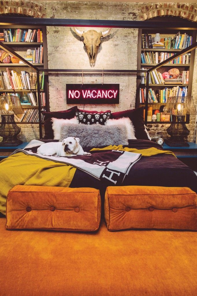 'No Vacancy' Neon sign in the home of Birmingham artist Matt Underwood decorated by designer Barri Thompson