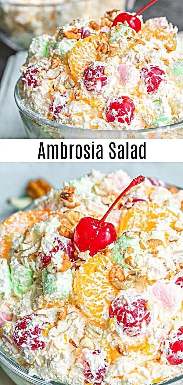 Leichter Und Flauschiger Ambrosia Salat Ist Ein Klassisches Sudlandisches Dessert Mit Cool Wh Fruit Salad With Marshmallows Ambrosia Salad Fruit Recipes