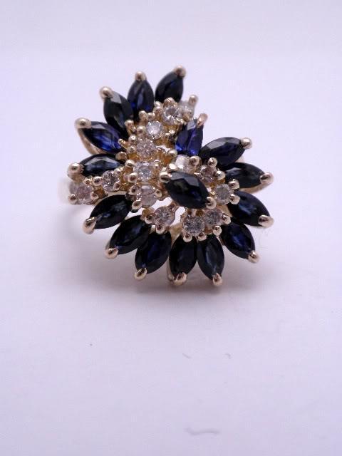 14K Marquis Sapphire & Diamond Ring  Price: $795.00