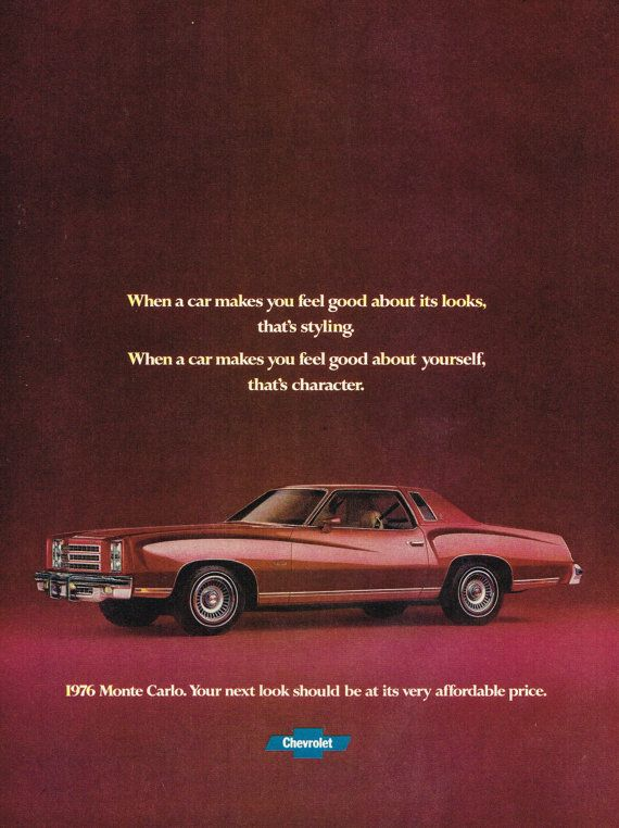 Classic 1976 Chevrolet Monte Carlo Vintage Car Print Ad instant download by DigiAds
