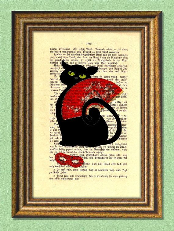 CARNIVAL BLACK CAT   Dictionary art Vintage by littlevintagechest, $7.99