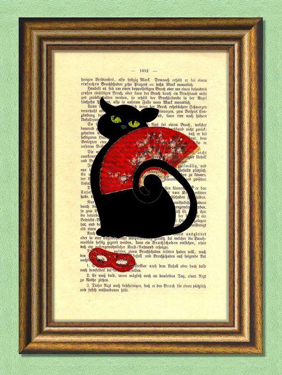 CARNIVAL BLACK CAT   Dictionary art Vintage by littlevintagechest, $7.99