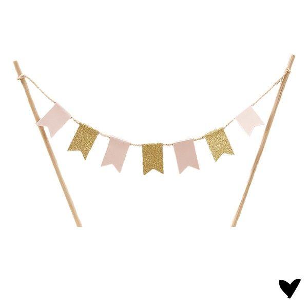 €6.50 Cake topper / Taart topper roze glitter gouden vlaggetjes