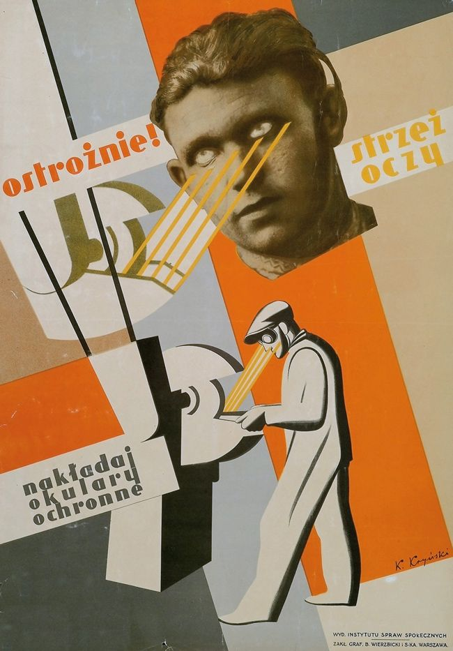 Karol Kryński, Be careful! Protect Your Eyes, poster, 1939.  Against All Odds: Polish Graphic Design 1919-1949 by Piotr Rypson.