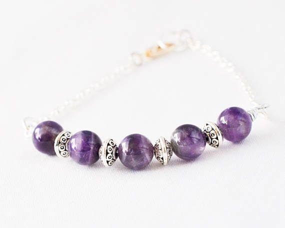 Purple Amethyst Silver Bracelet  Sterling Silver Amethyst