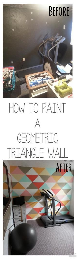 How to paint a triangle pattern. #geometric #springcolors #workoutroom