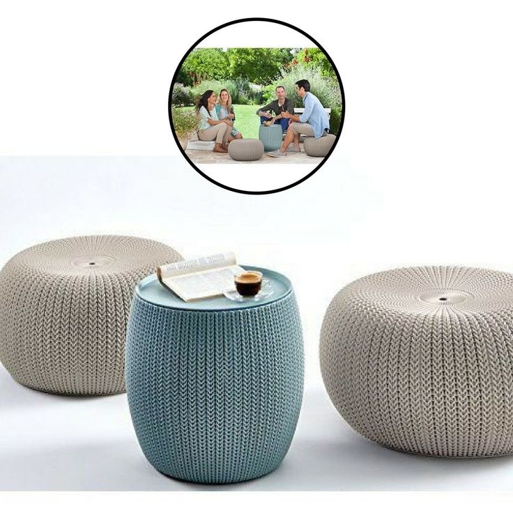 3 pc Patio Furniture Set Outdoor Home Garden Backyard Decoration 2 Pouf Table  #Unbranded